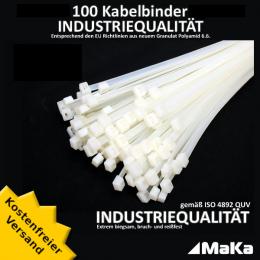 100 Stück = 1 VPE  -  Kabelbinder - 290 x 4,8 mm INDUSTRIEQUALITÄT weiß / natur