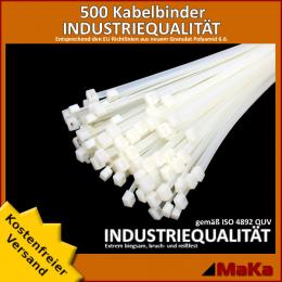 500 Stück = 5 VPE  -  Kabelbinder - 290 x 4,8 mm INDUSTRIEQUALITÄT weiß / natur