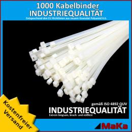 1000 Stück = 10 VPE  -  Kabelbinder - 360 x 4,8 mm INDUSTRIEQUALITÄT weiß / natur
