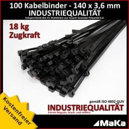 100 Stück = 1 VPE - Kabelbinder - 140 x 3,6 mm INDUSTRIEQUALITÄT schwarz