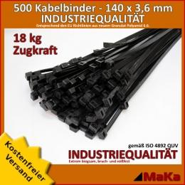 500 Stück = 5 VPE - Kabelbinder - 140 x 3,6 mm INDUSTRIEQUALITÄT schwarz