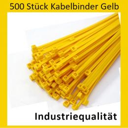 500 Kabelbinder - 140 x 3,6 mm INDUSTRIEQUALITÄT Standard (Gelb)