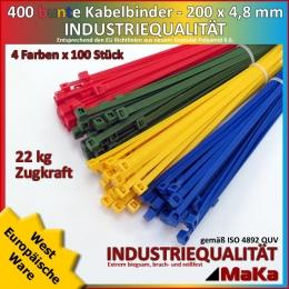 4 x 100 Kabelbinder - 200 x 4,8 mm INDUSTRIEQUALITÄT Standard in verschiedenen Farben