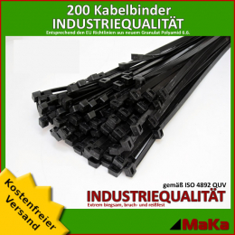 200 Stück = 2 VPE -Kabelbinder - 750 x 7,6 mm INDUSTRIEQUALITÄT schwarz