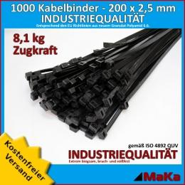 1000 Stück = 10 VPE - Kabelbinder - 200 x 2,5 mm INDUSTRIEQUALITÄT schwarz