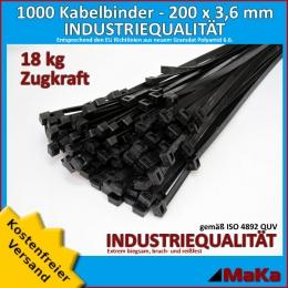 1000 Stück = 10 VPE - Kabelbinder - 200 x 3,6 mm INDUSTRIEQUALITÄT schwarz