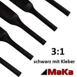 5 Meter Schrumpfschlauch schwarz 3:1  mit Kleber  Ø 9,5 mm