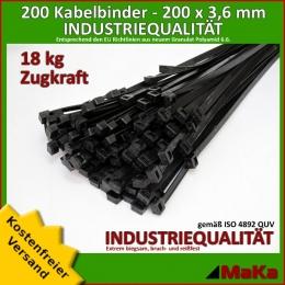 200 Stück = 2 VPE - Kabelbinder - 200 x 3,6 mm INDUSTRIEQUALITÄT schwarz