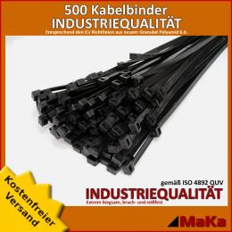 500 Stück = 5 VPE - Kabelbinder - 250 x 4,8 mm INDUSTRIEQUALITÄT schwarz