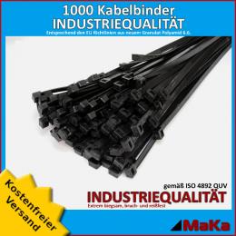 1000 Stück = 10 VPE - Kabelbinder - 290 x 3,6 mm INDUSTRIEQUALITÄT schwarz