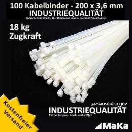 100 Stück = 1 VPE  -  Kabelbinder - 200 x 3,6 mm INDUSTRIEQUALITÄT weiß / natur